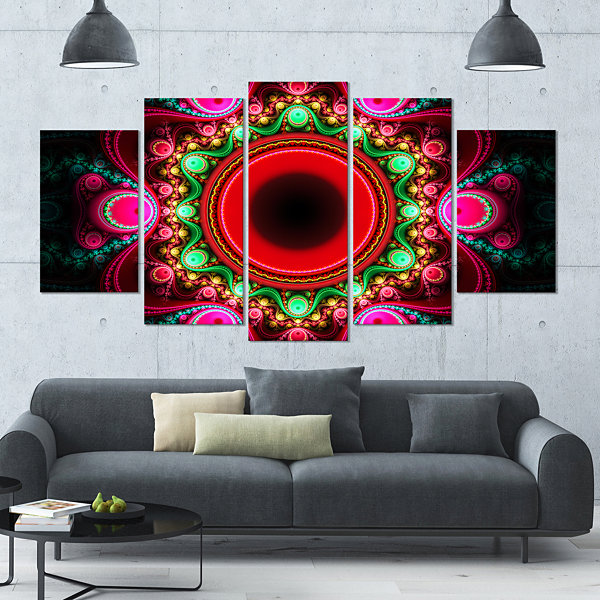 Designart Pink Wavy Curves And Circles Contemporary Canvas Art Print - 5 Panels