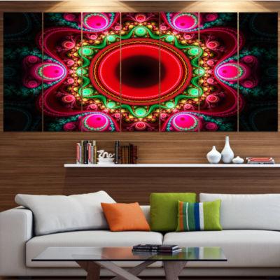 Designart Pink Wavy Curves And Circles Abstract Canvas Art Print - 7 Panels