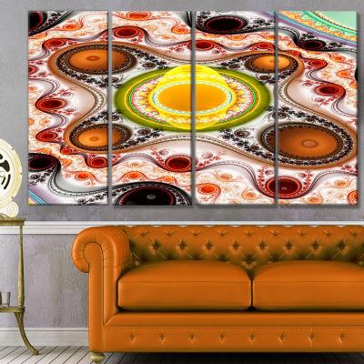 Brown Wavy Curves And Circles Abstract Canvas ArtPrint - 4 Panels