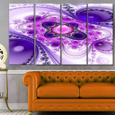 Purple Wavy Curves And Circles Abstract Canvas ArtPrint - 4 Panels