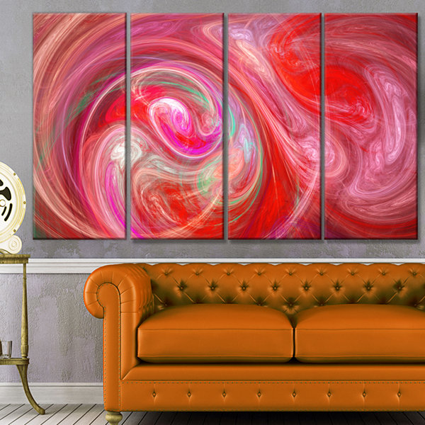 Designart Red Fractal Pattern With Circles Abstract Canvas Art Print - 4 Panels