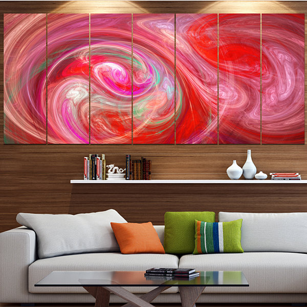 Designart Red Fractal Pattern With Circles Abstract Canvas Art Print - 7 Panels