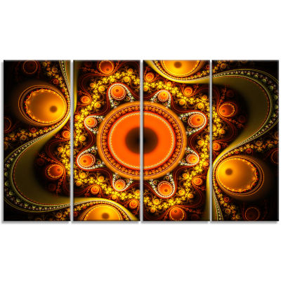 Golden Fractal Pattern With Circles Abstract Canvas Art Print - 4 Panels