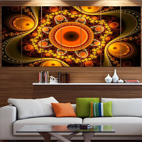 Designart Golden Fractal Pattern With Circles Contemporary Canvas Art Print - 5 Panels