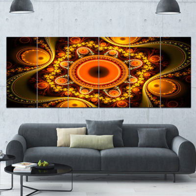 Designart Golden Fractal Pattern With Circles Abstract Canvas Art Print - 6 Panels