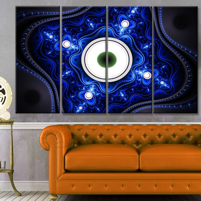 Designart Exotic Blue Pattern With Circles Abstract Canvas Art Print - 4 Panels