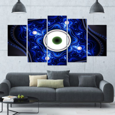 Exotic Blue Pattern With Circles Contemporary Canvas Art Print - 5 Panels