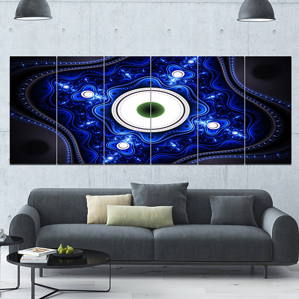 Designart Exotic Blue Pattern With Circles Abstract Canvas Art Print - 6 Panels