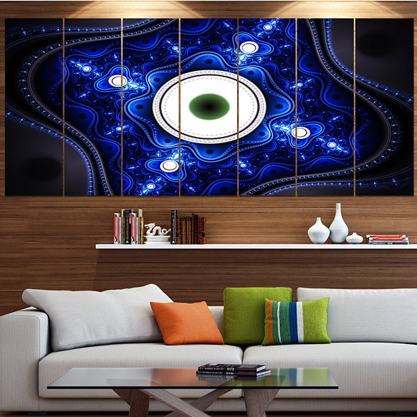 Designart Exotic Blue Pattern With Circles Abstract Canvas Art Print - 7 Panels