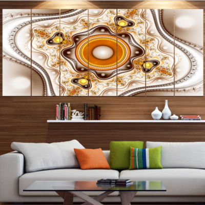 Fractal Circles And Wavy Curves Contemporary Canvas Art Print - 5 Panels