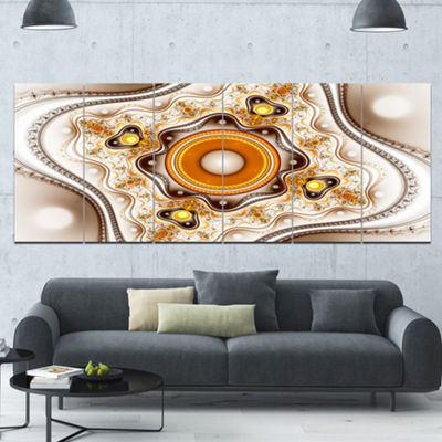 Designart Fractal Circles And Wavy Curves AbstractCanvas Art Print - 6 Panels