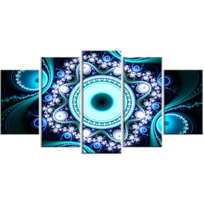 Designart Turquoise Fractal Pattern With CirclesContemporary Canvas Art Print - 5 Panels