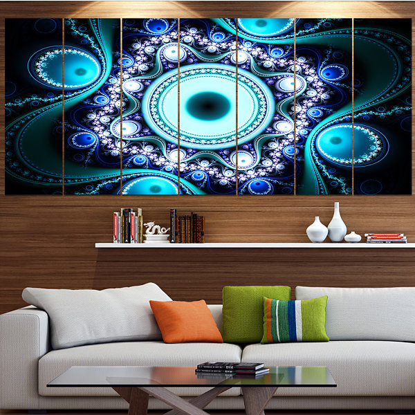 Designart Turquoise Fractal Pattern With CirclesAbstract Canvas Art Print - 5 Panels
