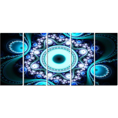 Turquoise Fractal Pattern With Circles Abstract Canvas Art Print - 5 Panels