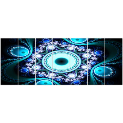 Designart Turquoise Fractal Pattern With CirclesAbstract Canvas Art Print - 7 Panels