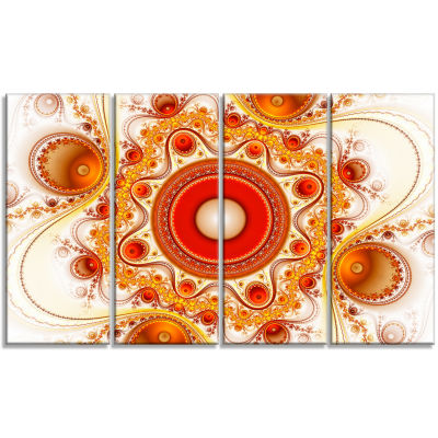 Orange Fractal Pattern With Circles Abstract Canvas Art Print - 4 Panels
