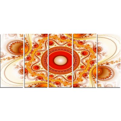 Orange Fractal Pattern With Circles Abstract Canvas Art Print - 5 Panels