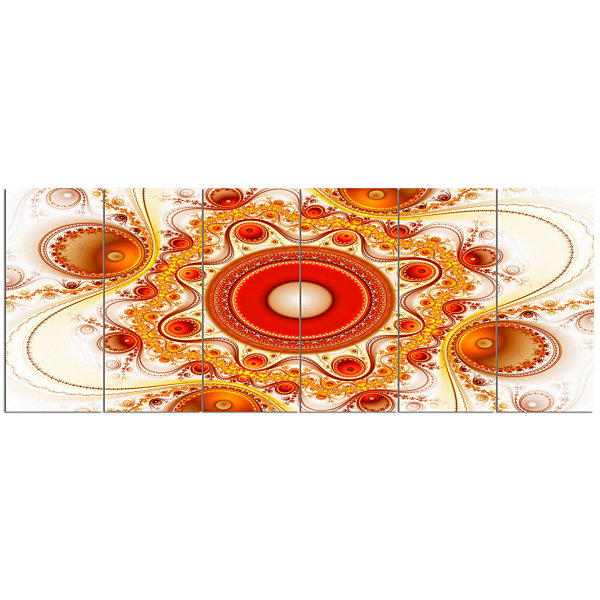 Designart Orange Fractal Pattern With Circles Abstract Canvas Art Print - 6 Panels