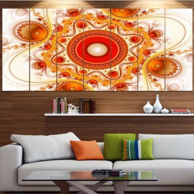 Design Art Orange Fractal Pattern With Circles Abstract Canvas Art Print - 7 Panels