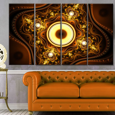 Designart Brown Fractal Pattern With Circles Abstract Canvas Art Print - 4 Panels