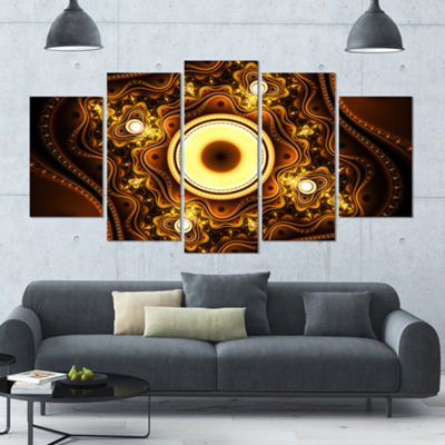 Designart Brown Fractal Pattern With Circles Contemporary Canvas Art Print - 5 Panels