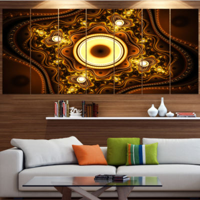 Designart Brown Fractal Pattern With Circles Abstract Canvas Art Print - 5 Panels