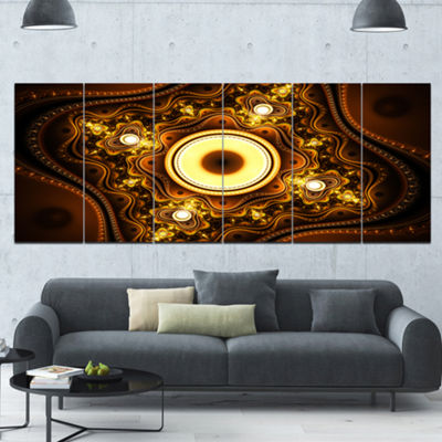Designart Brown Fractal Pattern With Circles Abstract Canvas Art Print - 6 Panels