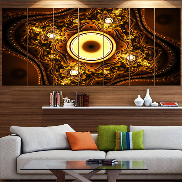 Designart Brown Fractal Pattern With Circles Abstract Canvas Art Print - 7 Panels