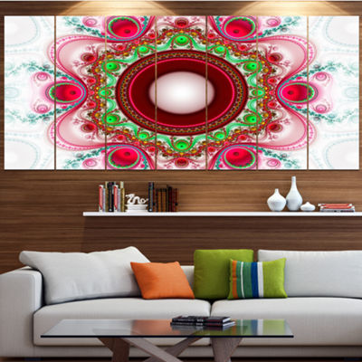 Designart Pink Fractal Pattern With Circles Abstract Canvas Art Print - 6 Panels