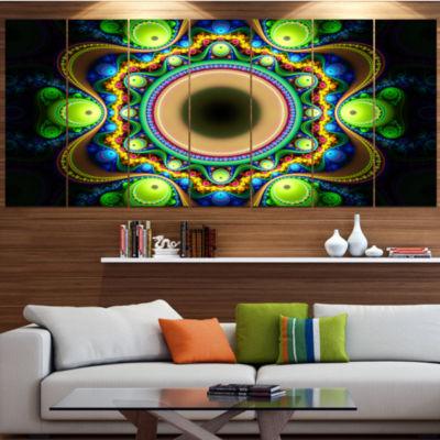Designart Green Fractal Pattern With Circles Contemporary Canvas Art Print - 5 Panels