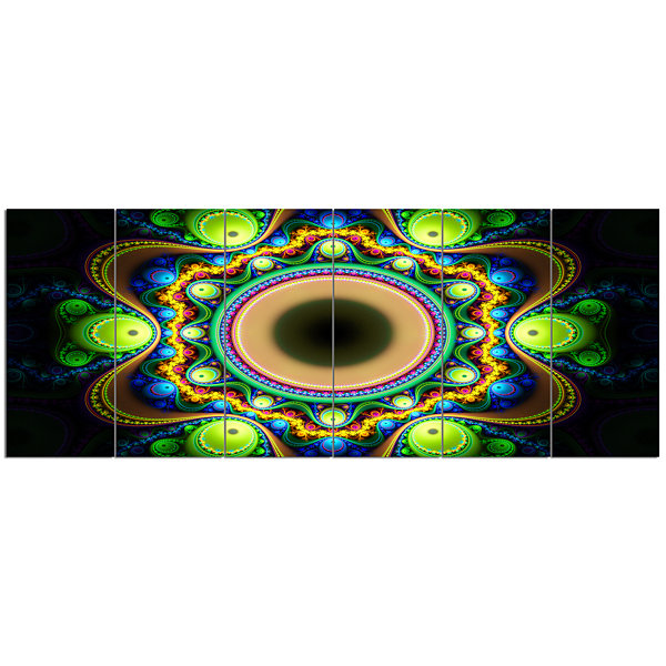 Designart Green Fractal Pattern With Circles Abstract Canvas Art Print - 6 Panels
