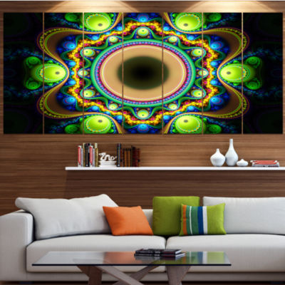 Designart Green Fractal Pattern With Circles Abstract Canvas Art Print - 7 Panels