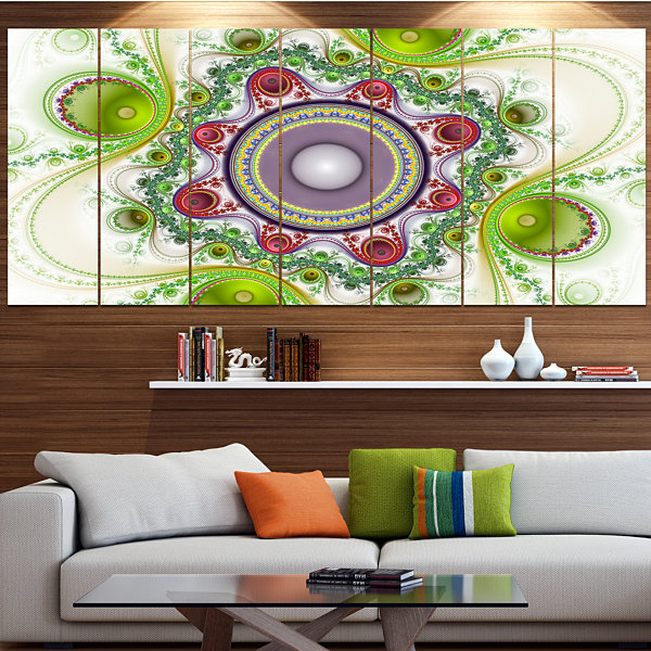 Designart Light Green Pattern With Circles Abstract Canvas Art Print - 4 Panels