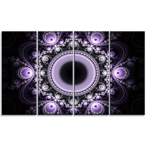 Design Art Light Purple Pattern With Circles Abstract Canvas Art Print - 4 Panels