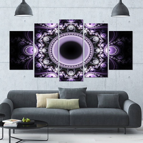 Designart Light Purple Pattern With Circles Contemporary Canvas Art Print - 5 Panels