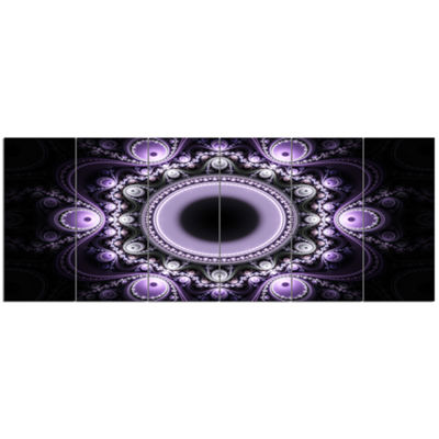 Designart Light Purple Pattern With Circles Abstract Canvas Art Print - 6 Panels
