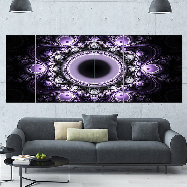 Design Art Light Purple Pattern With Circles Abstract Canvas Art Print - 6 Panels