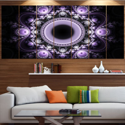 Designart Light Purple Pattern With Circles Abstract Canvas Art Print - 7 Panels