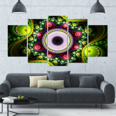 Green On Black Pattern With Circles Contemporary Canvas Art Print - 5 Panels
