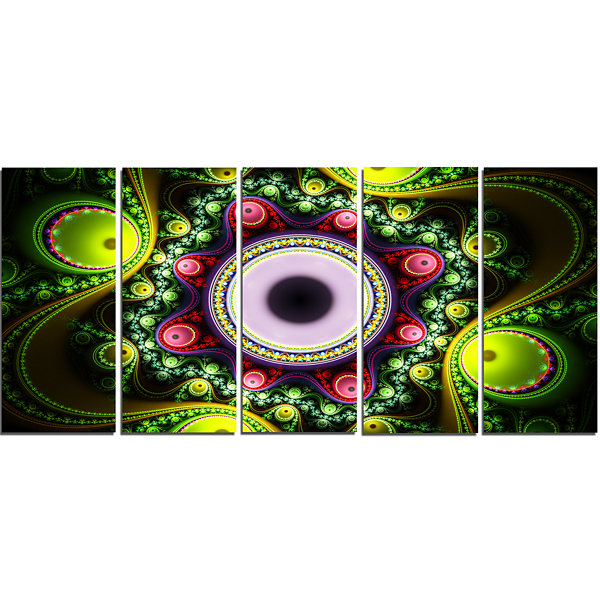 Designart Green On Black Pattern With Circles Abstract Canvas Art Print - 5 Panels