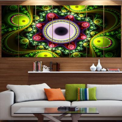 Designart Green On Black Pattern With Circles Abstract Canvas Art Print - 6 Panels
