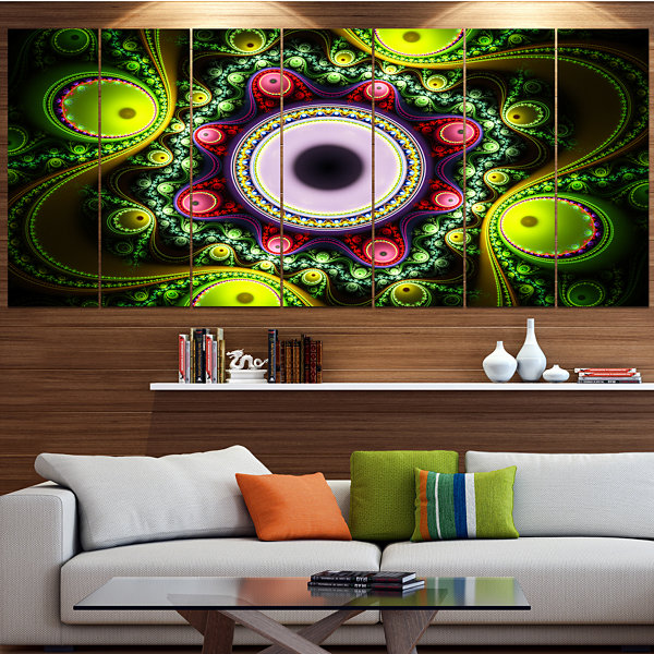 Designart Green On Black Pattern With Circles Abstract Canvas Art Print - 7 Panels