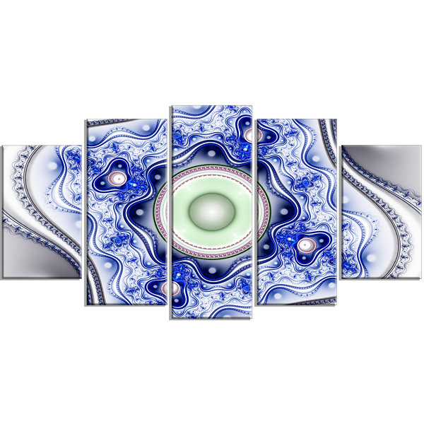Designart Blue On White Pattern With Circles Contemporary Canvas Wall Art - 5 Panels