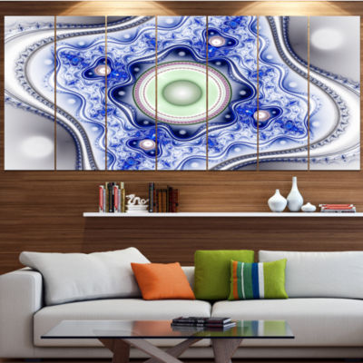 Design Art Blue On White Pattern With Circles Abstract Canvas Wall Art - 7 Panels