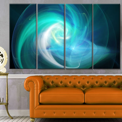Designart Blue Fractal Abstract Illustration Abstract Canvas Wall Art - 4 Panels