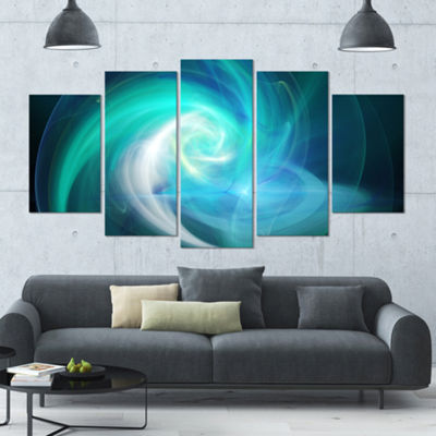 Designart Blue Fractal Abstract Illustration Contemporary Canvas Wall Art - 5 Panels