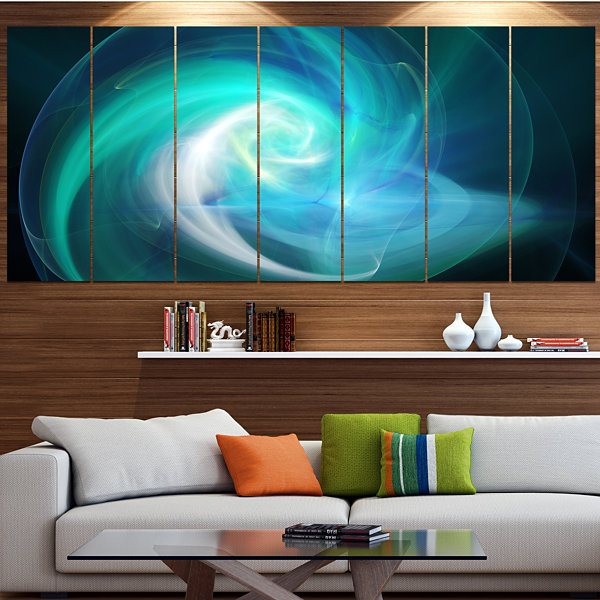 Designart Blue Fractal Abstract Illustration Abstract Canvas Wall Art - 7 Panels