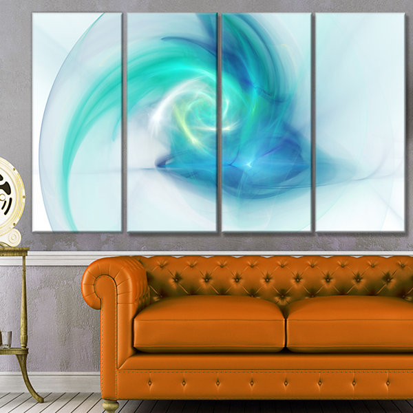 Designart Light Blue Fractal Abstract Texture Abstract Canvas Wall Art - 4 Panels