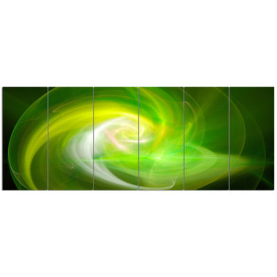 Green Fractal Abstract Illustration Abstract Canvas Wall Art - 6 Panels