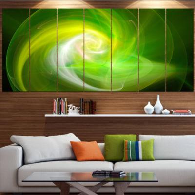 Design Art Green Fractal Abstract Illustration Abstract Canvas Wall Art - 6 Panels